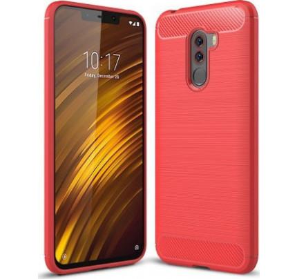 Θήκη OEM Brushed Carbon Flexible Cover TPU για Xiaomi Pocophone F1 κόκκινου χρώματος