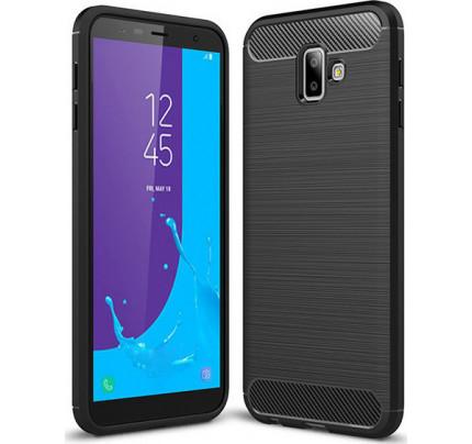 Θήκη OEM Brushed Carbon Flexible Cover TPU για Samsung Galaxy J6 Plus J610 μαύρου χρώματος