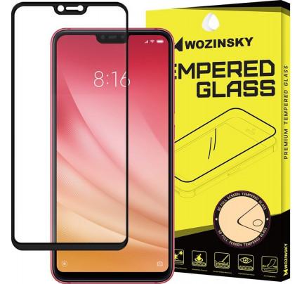 Wozinsky Tempered Glass Full Glue Super Tough  Full Coveraged with Frame Case Friendly for Xiaomi Mi 8 Lite black
