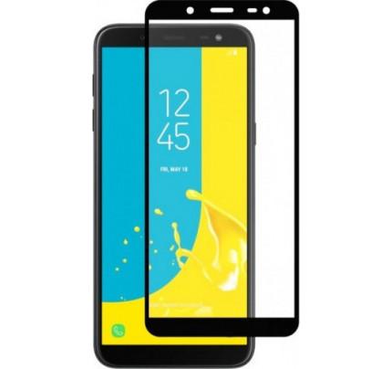 Φιλμ Προστασίας Οθόνης Tempered Glass (άθραυστο ) 9H για Samsung Galaxy J6 Plus J610 πλήρους κάλυψης -  full face black