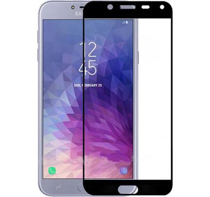 Φιλμ Προστασίας Οθόνης Tempered Glass (άθραυστο ) 9H για Samsung Galaxy J4 Plus J415 πλήρους κάλυψης -  full face black