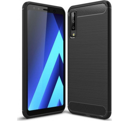 Θήκη OEM Brushed Carbon Flexible Cover TPU για Samsung Galaxy A7 2018 μαύρου χρώματος