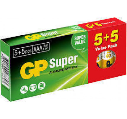Αλκαλικές Μπαταρίες GP Ultra AAA 1.5V (5ΤΕΜΑΧΙΑ+ 5 ΔΩΡΟ) GPA24-K10
