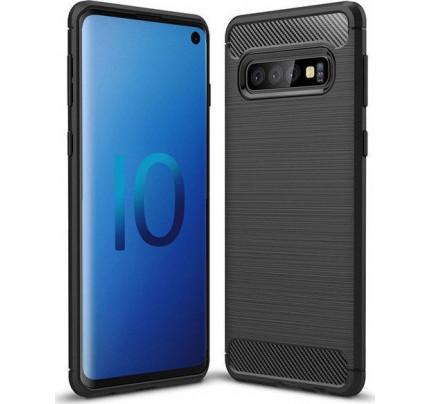 Θήκη OEM Brushed Carbon Flexible TPU για Samsung Galaxy S10 G973 μαύρου χρώματος
