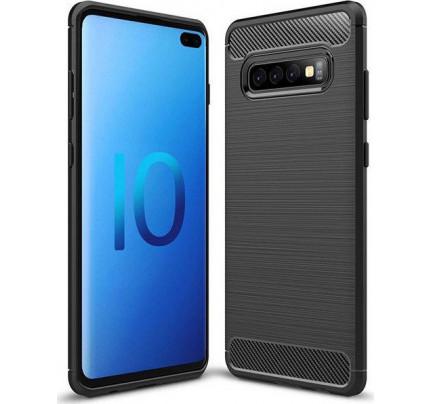 Θήκη OEM Brushed Carbon Flexible TPU για Samsung Galaxy S10 Plus G975 μαύρου χρώματος