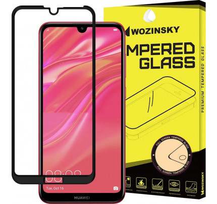 Wozinsky Tempered Glass Full Glue Super Tough Full Coveraged with Frame Case Friendly for Huawei Y7 2019 / Y7 Prime 2019 black