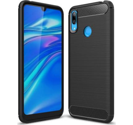 Θήκη OEM Brushed Carbon Flexible Cover TPU για Huawei Y7 2019 μαύρου χρώματος