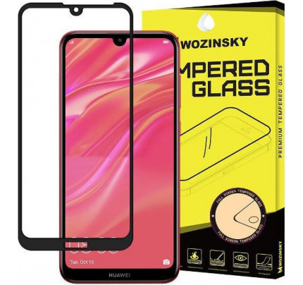 Wozinsky Tempered Glass Full Glue Full Coveraged with Frame Case Friendly for Huawei Y6 2019 / Y6 Pro 2019 / Y6s 2019 black