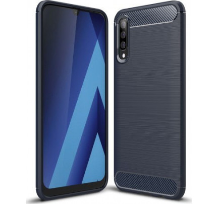 Θήκη OEM Brushed Carbon Flexible Cover TPU για Samsung Galaxy A70 μπλε χρώματος