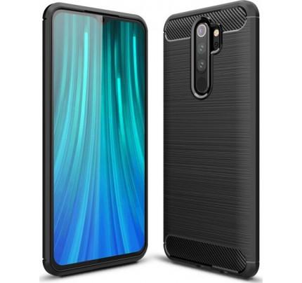 Θήκη OEM Brushed Carbon Flexible Cover TPU για Xiaomii Redmi Note 8 Pro μαύρου χρώματος