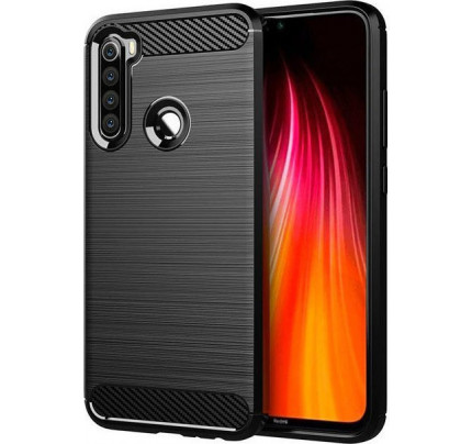 Θήκη OEM Brushed Carbon Flexible Cover TPU για Xiaomii Redmi Note 8 μαύρου χρώματος