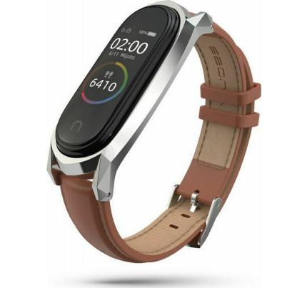 Tech-Protect Herms Λουράκι Leather Xiaomi Mi Band 5 Καφέ χρώματος