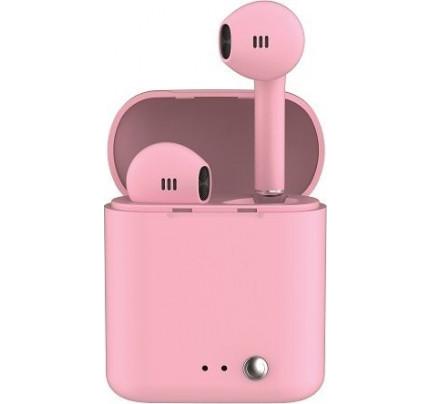 Ledwood T14 Rubber Earbud Bluetooth Handsfree ροζ χρώματος