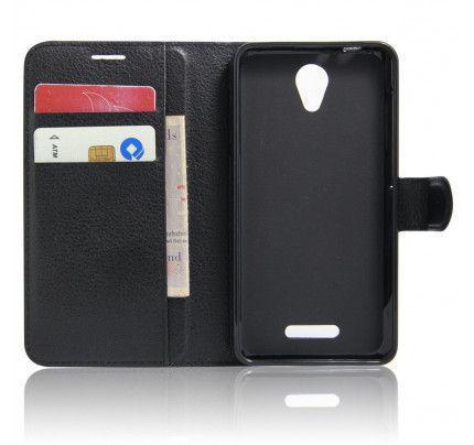 """Θήκη OEM Wallet για Alcatel POP 4 5 """" ( stand ,θήκες για κάρτες,χρήματα) μαύρου χρώματος"""
