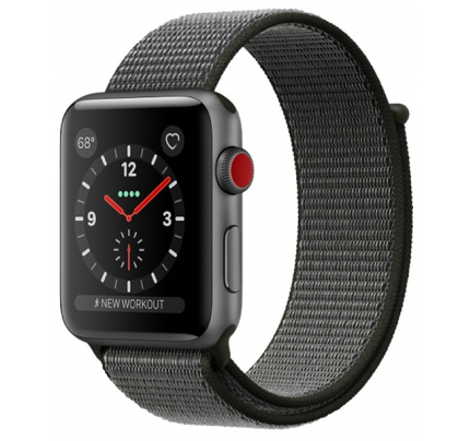 Apple Watch Series 3, SmartWatch black / olive green, 42mm, sports Loop, aluminum