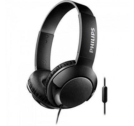 Philips Bass+ SHL3075BK/0 Closed-Back Headphones with Mic (Black)