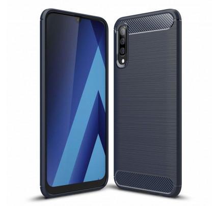 Θήκη OEM Brushed Carbon Flexible Cover TPU για Samsung Galaxy A50 μπλε χρώματος