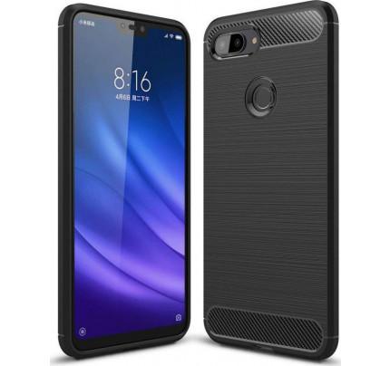 Θήκη OEM Brushed Carbon Flexible Cover TPU για Xiaomii Mi 8 Lite μαύρου χρώματος