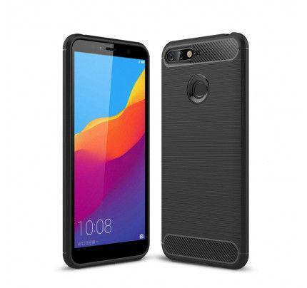 Θήκη OEM Brushed Carbon Flexible TPU για Huawei Y6 2018 / Y6 PRIME 2018 μαύρου χρώματος