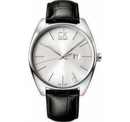 Calvin Klein Exchange Silver Dial Black Leather Strap - K2F21120