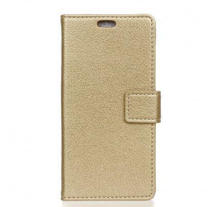 """Θήκη OEM Wallet για Lenovo K6 Note 5,5 """" ( stand ,θήκες για κάρτες,χρήματα) χρυσού χρώματος"""