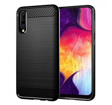 Θήκη OEM Brushed Carbon Flexible Cover TPU για Samsung Galaxy A50 μαύρου χρώματος