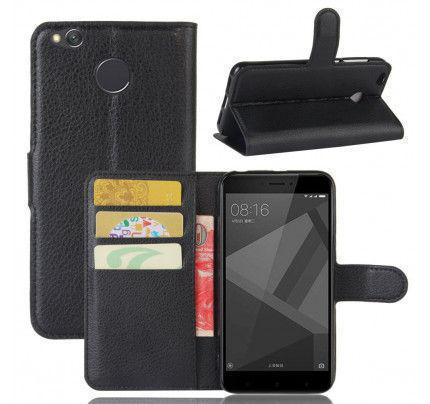 Θήκη OEM Wallet για Xiaomi Redmi 4X ( stand ,θήκες για κάρτες,χρήματα) μαύρου χρώματος