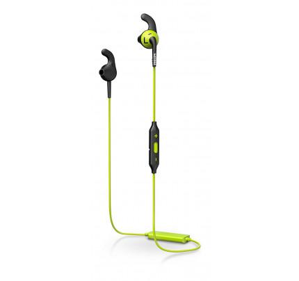 Philips SHQ6500CL ActionFit In-Ear Bluetooth Sports Headphone with Mic (Earbuds, Anti-Slip Caps, Integrated Remote) - Green/Black