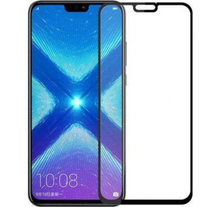 Tempered Glass Full Glue Super Tough Full Coveraged Case Friendly for Huawei Honor 8X black ( full face )