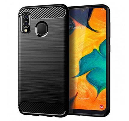 Θήκη OEM Brushed Carbon Flexible Cover TPU για Samsung Galaxy A20 / Galaxy A30 μαύρου χρώματος