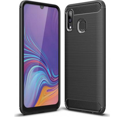 Θήκη OEM Brushed Carbon Flexible Cover TPU για Samsung Galaxy A40 μαύρου χρώματος