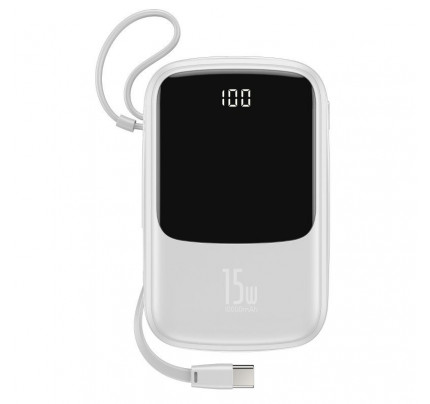 Baseus Power Bank Q pow Digital Display 3A Power Bank 10000mAh With Type-C Cable White PPQD-A01