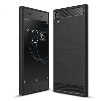 Θήκη OEM Brushed Carbon Flexible Cover TPU για Sony Xperia XA1 μαύρου χρώματος