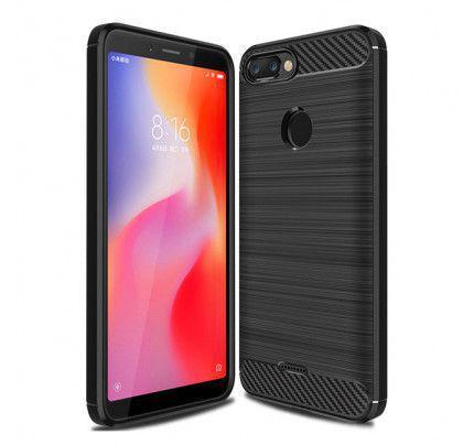 Θήκη OEM Brushed Carbon Flexible Cover TPU για Xiaomi Redmi 6 μαύρου χρώματος