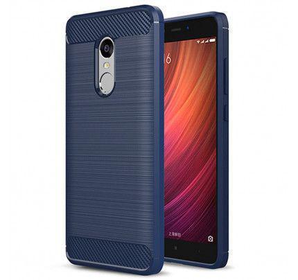Θήκη OEM Brushed Carbon Flexible Cover TPU Xiaomi Redmi Note 4X μπλε χρώματος