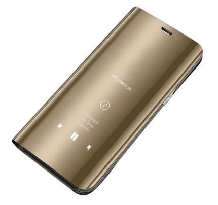 Θήκη OEM Clear View Standing Cover για Samsung Galaxy A7 2018 A750 χρυσού χρώματος