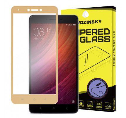 Tempered Glass Screen Protector Πλήρους Κάλυψης με πλαίσιο PET για Xiaomi Redmi Note 4X gold