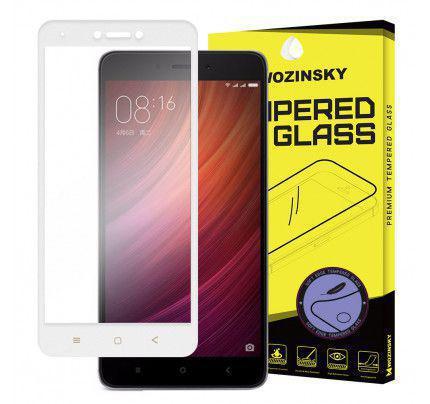 Tempered Glass Screen Protector Πλήρους Κάλυψης με πλαίσιο PET για Xiaomi Redmi Note 4X white