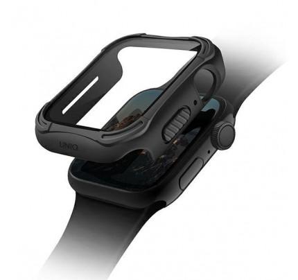 Θήκη UNIQ Torres Apple Watch Series 4/5/6/SE 44mm.midnight black ( Protective bumper+ tempered glass )