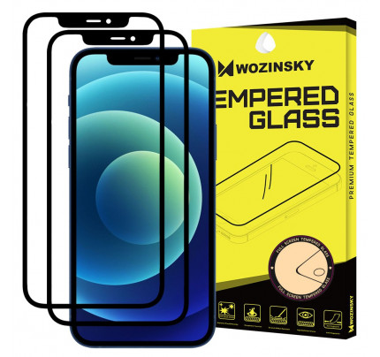 Wozinsky Tempered Glass Full Glue Full Coveraged with Frame Case Friendly for iPhone 12 Pro / iPhone 12 black, (2 τεμαχια)