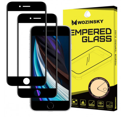 Wozinsky 2x Tempered Glass Full Glue Full Coveraged with Frame Case Friendly for iPhone SE 2020 / iPhone 8 / iPhone 7 / iPhone 6S / iPhone 6 black