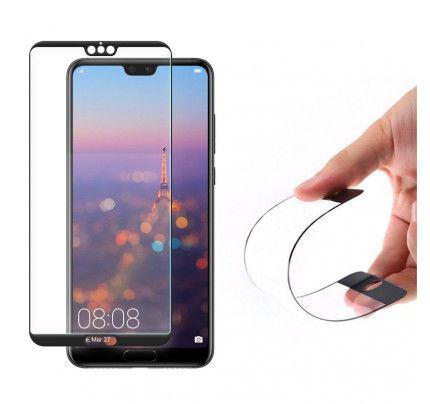 Full Cover Flexi Nano Glass Hybrid Screen Protector with frame for Huawei P20 Pro black