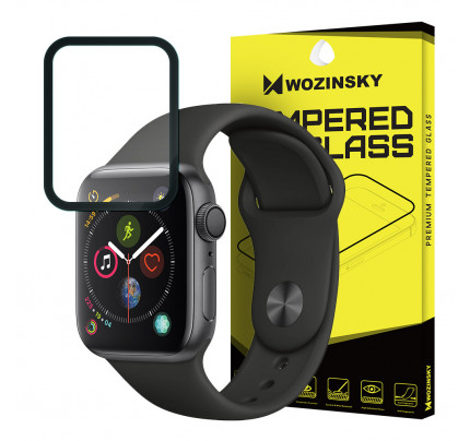 Wozinsky Tempered Glass Full Glue Full Coveraged with Frame Case Friendly for Apple Watch 4 44mm / Apple Watch 5 44mm black