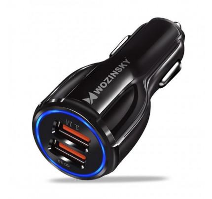 Wozinsky universal Car Charger 2x USB Quick Charge 3.0 QC3.0 3.1A black (WCC-02)