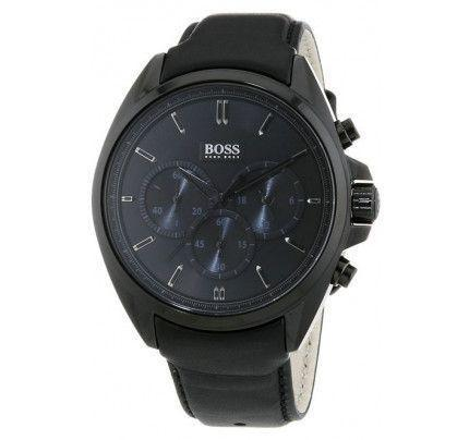 Hugo Boss Chronograph Black Stainless Steel Leather Strap 1513061