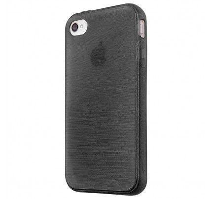 Θήκη Jelly Brush TPU για iPhone 4 / 4s μαύρου χρώματος