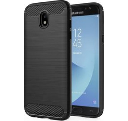 Θήκη OEM Brushed Carbon Flexible Cover TPU Case for Samsung Galaxy J7 2017 J730 μαύρου χρώματος