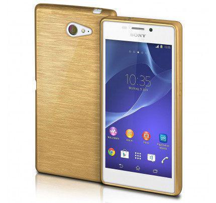 Θήκη Jelly Brush TPU για Sony Xperia M2 χρυσού χρώματος