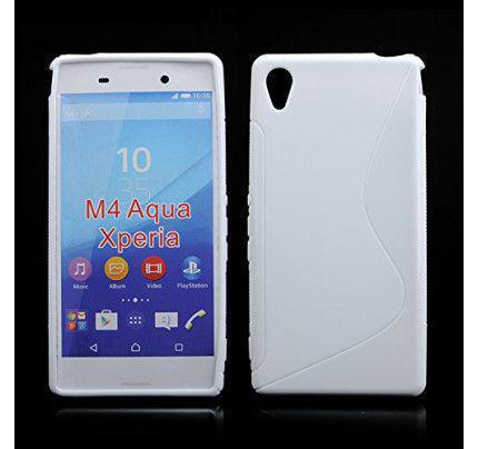 Θήκη TPU S-Line για Sony Xperia M4 Aqua λευκού χρώματος