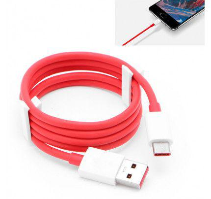 One Plus 3 3T Original Type C Fast Charge Data Cable White/Red (Bulk)